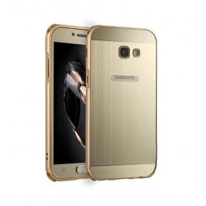Двухкомпонентный чехол c металлическим бампером с поликарбонатной накладкой для Samsung Galaxy A5 (2017)  Бежевый