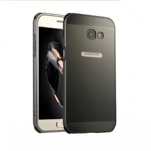 Двухкомпонентный чехол c металлическим бампером с поликарбонатной накладкой для Samsung Galaxy A5 (2017)  Черный