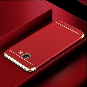 Двухкомпонентный пластиковый непрозрачный матовый сборный чехол для Samsung Galaxy A5 (2017)  Красный