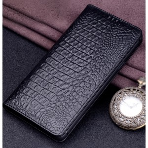 Кожаный чехол горизонтальная книжка (премиум нат. кожа крокодила) для Iphone Xs Max  Черный