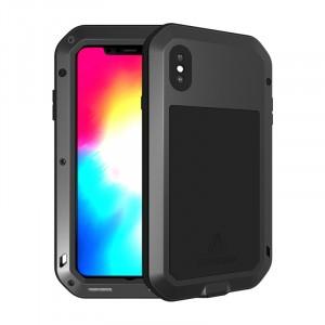 Эксклюзивный многомодульный ультрапротекторный пылевлагозащищенный ударостойкий нескользящий чехол алюминиево-цинковый сплав/силиконовый полимер с закаленным защитным стеклом для Iphone Xs Max  Черный