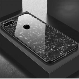 Силиконовый матовый непрозрачный чехол с поликарбонатной накладкой и текстурным покрытием Камень для Huawei Honor 7A Pro/7C/Y6 Prime (2018) Черный