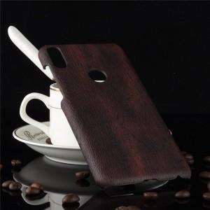 Пластиковый непрозрачный матовый чехол накладка с текстурным покрытием Дерево для ASUS ZenFone Max Pro M1 Черный