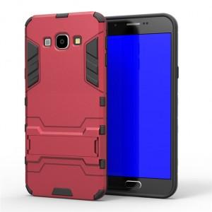 Противоударный двухкомпонентный силиконовый матовый непрозрачный чехол с поликарбонатными вставками экстрим защиты с встроенной ножкой-подставкой для Samsung Galaxy A8  Красный