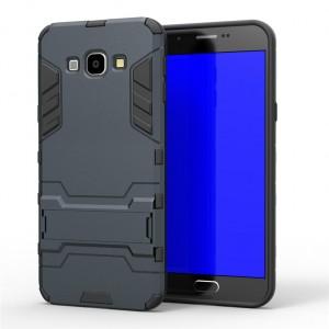Противоударный двухкомпонентный силиконовый матовый непрозрачный чехол с поликарбонатными вставками экстрим защиты с встроенной ножкой-подставкой для Samsung Galaxy A8  Синий