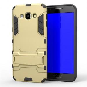 Противоударный двухкомпонентный силиконовый матовый непрозрачный чехол с поликарбонатными вставками экстрим защиты с встроенной ножкой-подставкой для Samsung Galaxy A8  Бежевый
