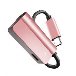 Аудиопереходник USB Type-C/3.5мм с экстраразъемом Type-C для одновременной зарядки Розовый