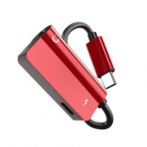 Аудиопереходник USB Type-C/3.5мм с экстраразъемом Type-C для одновременной зарядки Красный