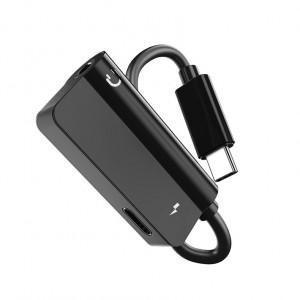 Аудиопереходник USB Type-C/3.5мм с экстраразъемом Type-C для одновременной зарядки Черный