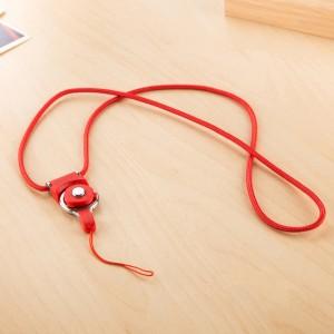 Двухкомпонентный тканевый ремешок 40см с карабином-кольцом для гаджетов Красный