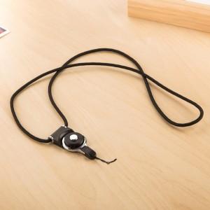 Двухкомпонентный тканевый ремешок 40см с карабином-кольцом для гаджетов Черный