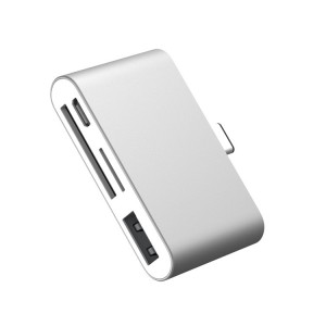 Матовый металлический хаб USB Type-C 4в1 (USB2.0, microUSB, SD, microSD) Белый