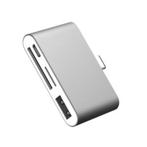 Матовый металлический хаб USB Type-C 4в1 (USB2.0, microUSB, SD, microSD) Серый