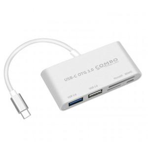 Матовый металлический хаб USB Type-C 5в1 (USB2.0, USB3.0, SD, microSD, microUSB) Белый