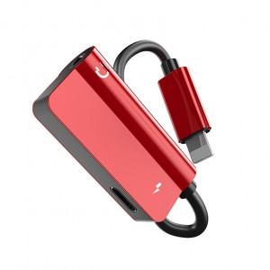 Аудиопереходник Lightning/3.5мм с экстраразъемом Lightning для одновременной зарядки Красный