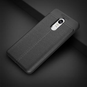 Силиконовый матовый непрозрачный чехол с текстурным покрытием Кожа для Xiaomi RedMi Note 4 Черный