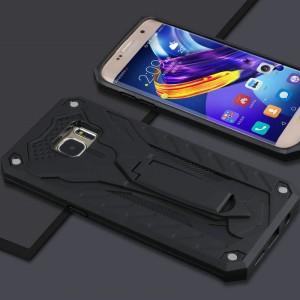 Двухкомпонентный силиконовый матовый непрозрачный чехол с поликарбонатными бампером и крышкой и встроенной ножкой-подставкой для Samsung Galaxy S7