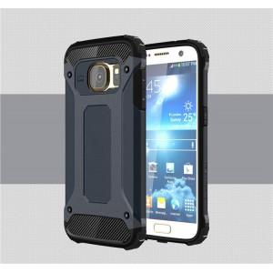 Противоударный двухкомпонентный силиконовый матовый непрозрачный чехол с поликарбонатными вставками экстрим защиты для Samsung Galaxy S7  Синий