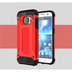 Противоударный двухкомпонентный силиконовый матовый непрозрачный чехол с поликарбонатными вставками экстрим защиты для Samsung Galaxy S7  Красный