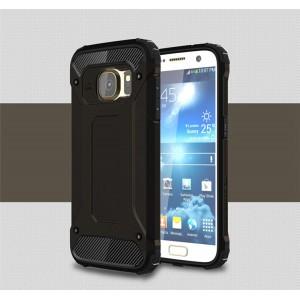 Противоударный двухкомпонентный силиконовый матовый непрозрачный чехол с поликарбонатными вставками экстрим защиты для Samsung Galaxy S7  Черный