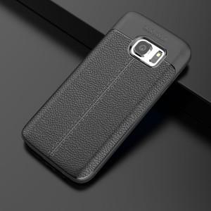 Силиконовый матовый непрозрачный чехол с текстурным покрытием Кожа для Samsung Galaxy S7  Черный