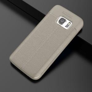 Силиконовый матовый непрозрачный чехол с текстурным покрытием Кожа для Samsung Galaxy S7