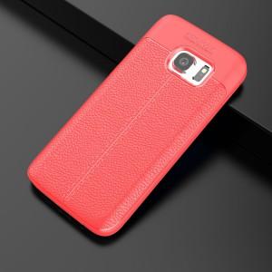 Силиконовый матовый непрозрачный чехол с текстурным покрытием Кожа для Samsung Galaxy S7  Красный