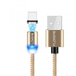 Магнитный интерфейсный USB Type-C 1м в тканевой оплетке с круговым разъемом и световым индикатором Бежевый