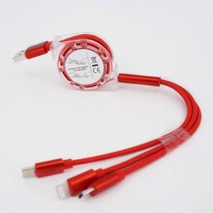 Автоскручивающийся интерфейсный кабель-хаб 3в1 (USB - Lightning/MicroUSB/Type-C) 1м Красный