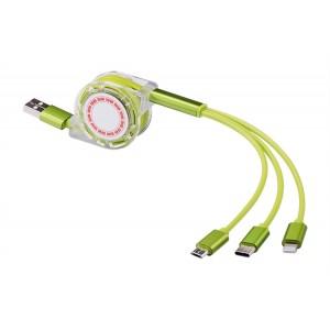 Автоскручивающийся интерфейсный кабель-хаб 3в1 (USB - Lightning/MicroUSB/Type-C) 1м Зеленый