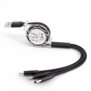 Автоскручивающийся интерфейсный кабель-хаб 3в1 (USB - Lightning/MicroUSB/Type-C) 1м  Черный