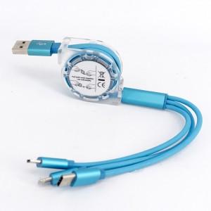Автоскручивающийся интерфейсный кабель-хаб 3в1 (USB - Lightning/MicroUSB/Type-C) 1м Синий