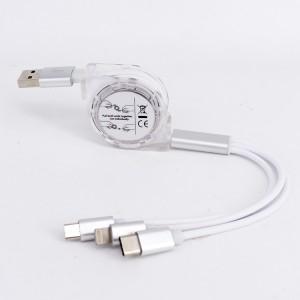 Автоскручивающийся интерфейсный кабель-хаб 3в1 (USB - Lightning/MicroUSB/Type-C) 1м Белый