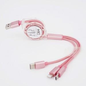 Автоскручивающийся интерфейсный кабель-хаб 3в1 (USB - Lightning/MicroUSB/Type-C) 1м Розовый
