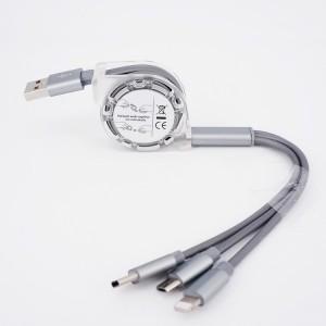Автоскручивающийся интерфейсный кабель-хаб 3в1 (USB - Lightning/MicroUSB/Type-C) 1м Серый