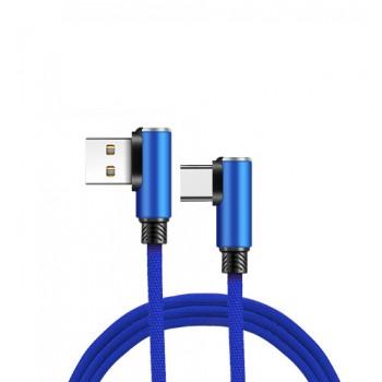 Интерфейсный кабель USB Type-C в тканевой оплетке 1.2м с угловыми разъемами Синий