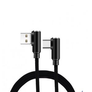 Интерфейсный кабель USB Type-C в тканевой оплетке 1.2м с угловыми разъемами Черный