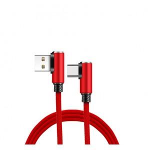 Интерфейсный кабель USB Type-C в тканевой оплетке 1.2м с угловыми разъемами Красный
