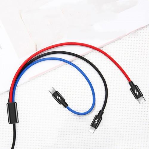 Интерфейсный кабель-хаб 3в1 (USB - Lightning/MicroUSB/Type-C) в тканевой оплетке 1.2м