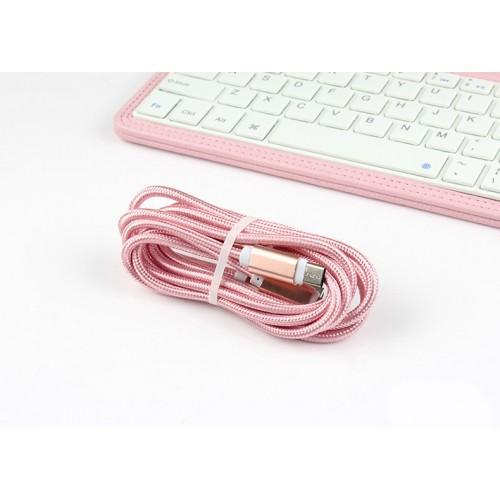 Интерфейсный кабель-хаб 3в1 (USB - Lightning/MicroUSB/Type-C) в тканевой оплетке 1.2м Бежевый