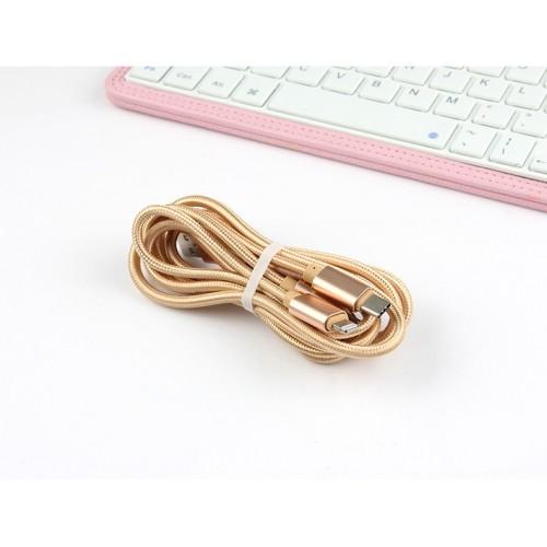 Интерфейсный кабель-хаб 3в1 (USB - Lightning/MicroUSB/Type-C) в тканевой оплетке 1.2м Розовый