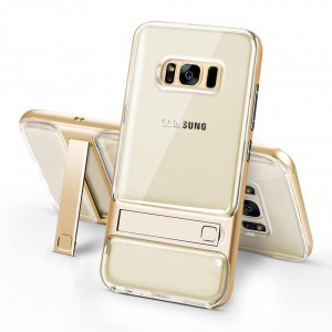 Двухкомпонентный силиконовый глянцевый транспарентный чехол с поликарбонатными бампером и крышкой и встроенной ножкой-подставкой для Samsung Galaxy S8