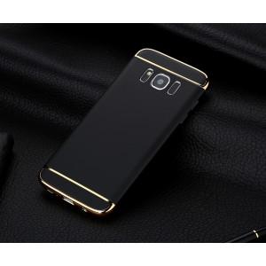 Двухкомпонентный пластиковый непрозрачный матовый сборный чехол для Samsung Galaxy S8 Черный