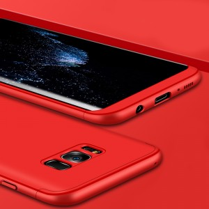 Двухкомпонентный пластиковый непрозрачный матовый сборный чехол для Samsung Galaxy S8 Красный