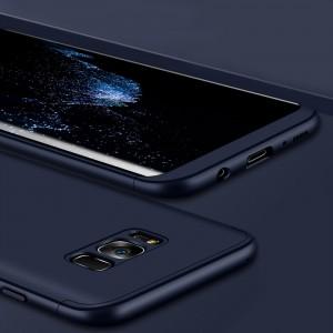 Двухкомпонентный пластиковый непрозрачный матовый сборный чехол для Samsung Galaxy S8 Синий