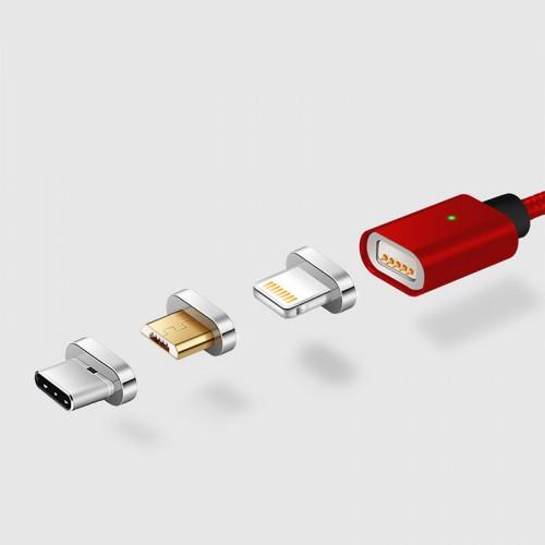 Интерфейсный кабель со сменными магнитными коннекторами (Lightning/MicroUSB/Type-C) и световым индикатором 1м