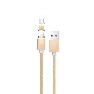 Интерфейсный кабель со сменными магнитными коннекторами (Lightning/MicroUSB/Type-C) и световым индикатором 1м Бежевый