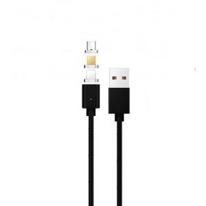 Интерфейсный кабель со сменными магнитными коннекторами (Lightning/MicroUSB/Type-C) и световым индикатором 1м Черный