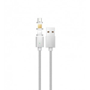 Интерфейсный кабель в тканевой оплетке со сменными магнитными коннекторами (Lightning/MicroUSB/Type-C) и световым индикатором 1м Белый