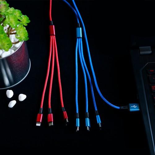Интерфейсный кабель-хаб 3в1 (USB - Lightning/MicroUSB/Type-C) в тканевой оплетке 1.2м Красный